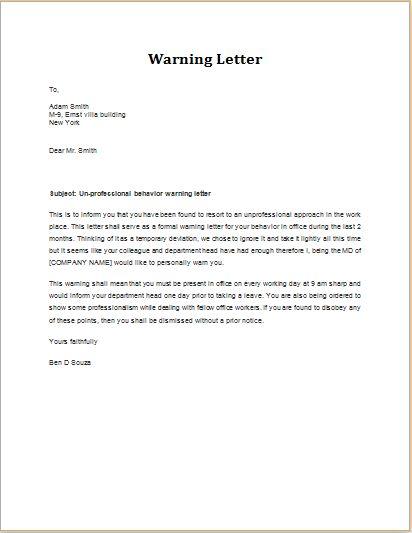 Warning Letter for Unprofessional Behavior | Word & Excel Templates