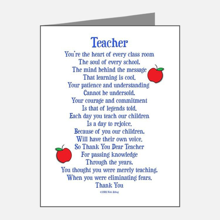 Card Invitation Samples: Teacher Thank You Cards Sweet Poetry Blue ...