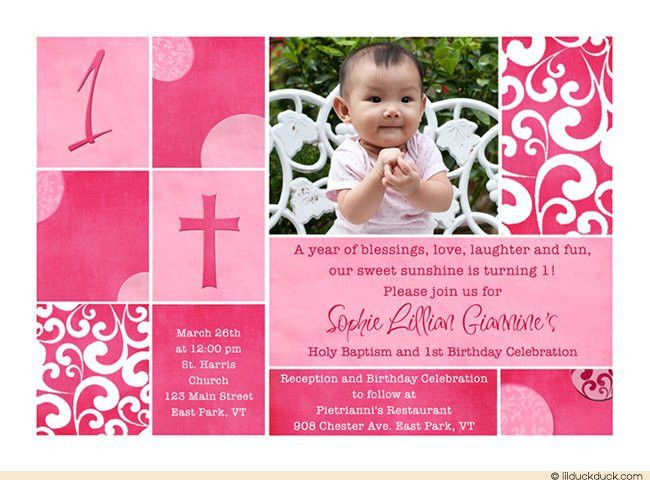 Sample Invitation For Christening And 1st Birthday - iidaemilia.Com
