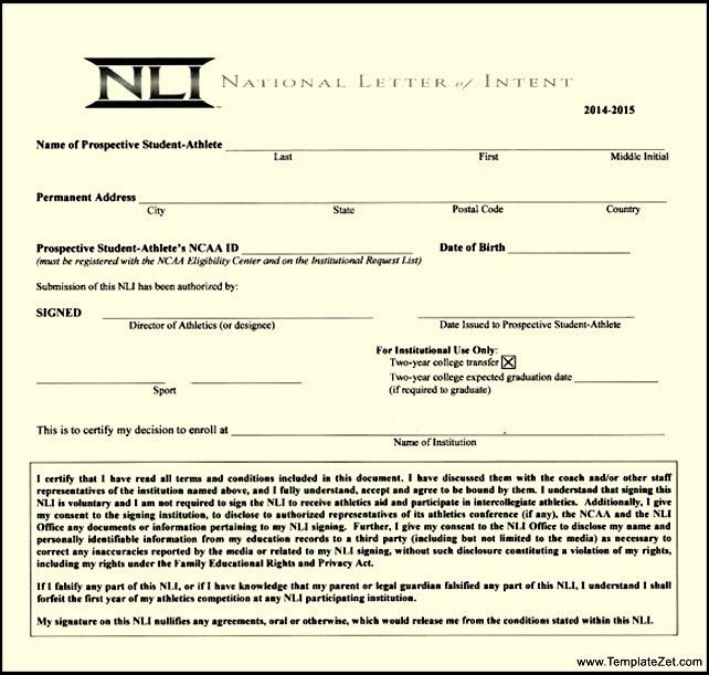 National Letter of Intent Download | TemplateZet
