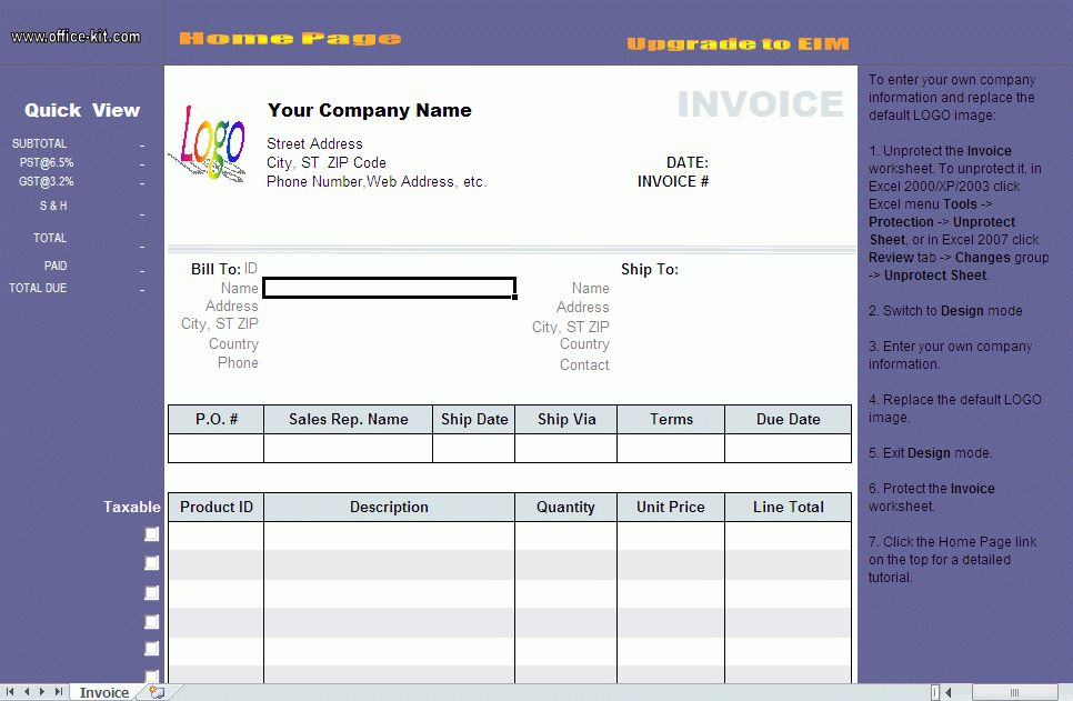 4+ it company invoice template | ledger paper