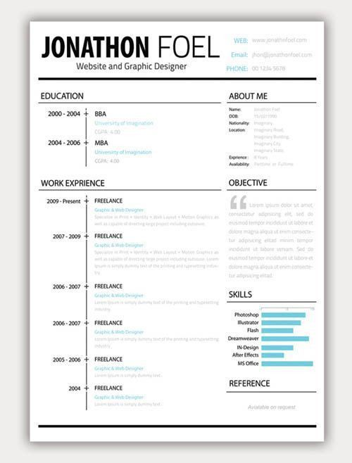 67 best cv images on Pinterest | Resume templates, Cv template and ...