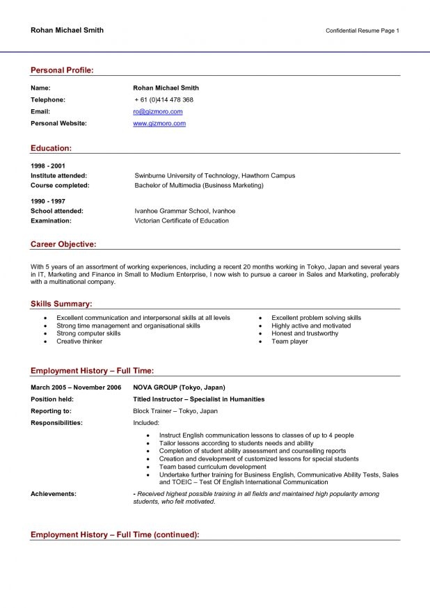 profile examples resume resume writing for high school students ...