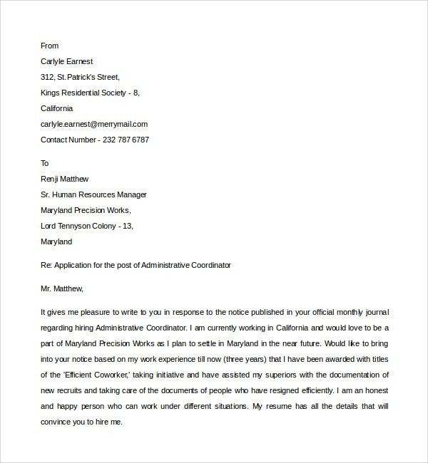 Sample Administrative Coordinator Cover Letter - 8+ Free Documents ...