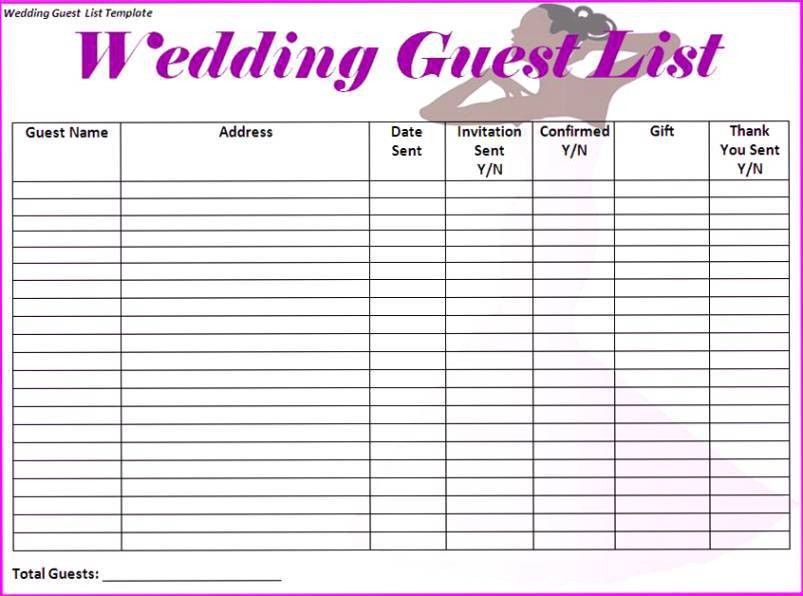 Wedding Guest List Spreadsheet Knot Cemong Biz - DIY Wedding • #42596