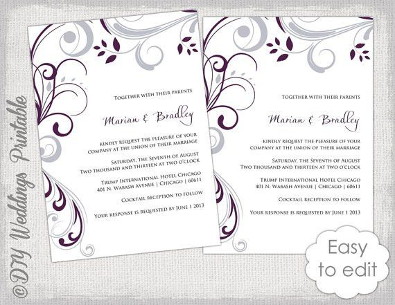 Wedding invitation template plum and Silver gray
