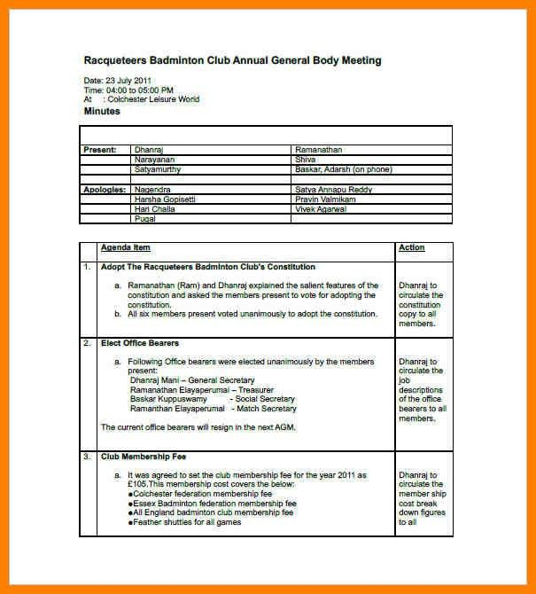 Meeting Minutes Template Pages | Templates.csat.co