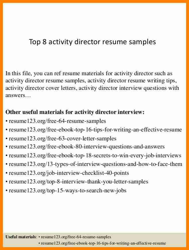 10+ sample activities resume | it cover letter