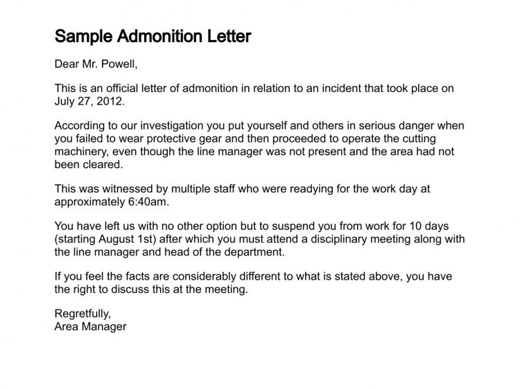 Employee Wrong Doing Sample Letter of Admonition
