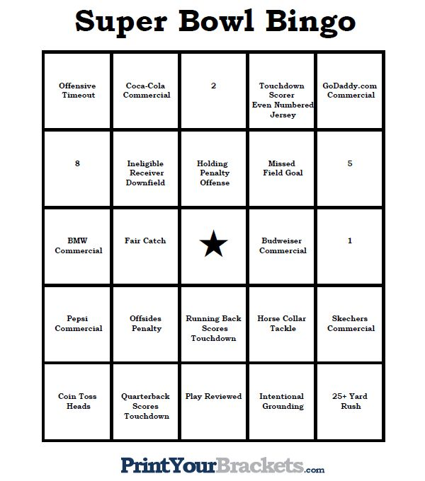 Super Bowl Bingo Sheets - Printable