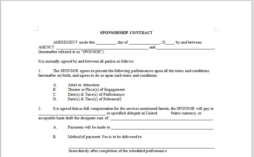 SPONSORSHIP CONTRACT – OnlineMusicContracts.Com
