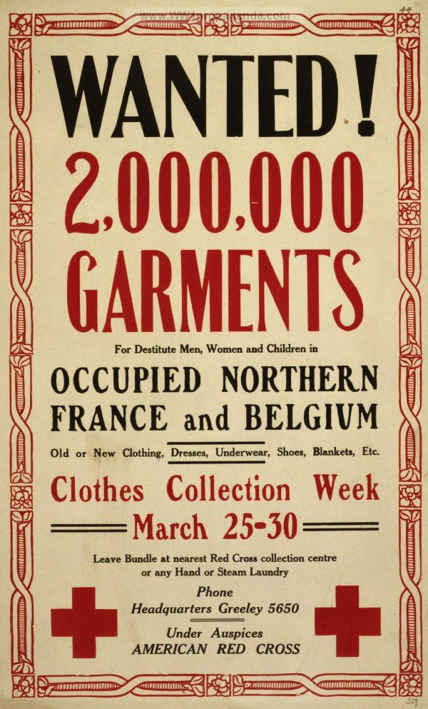 Examples of Propaganda from WW1 | Wanted! 2,000,000 garments for ...
