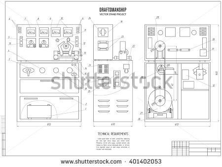 Technical Drawing Clamping Device Construction Project Stock ...