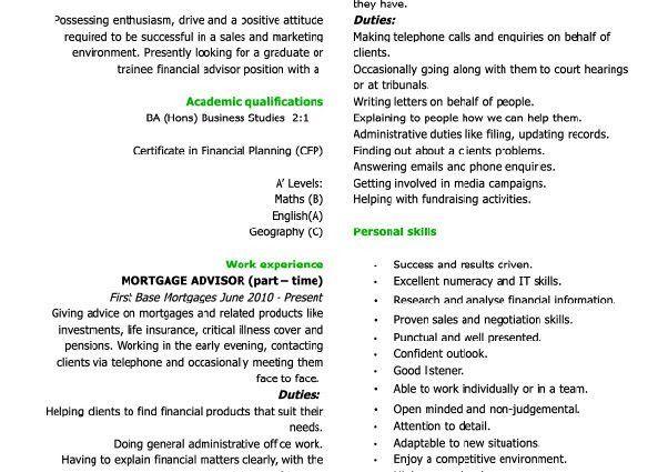 CV example Graduate financial advisor small voluntary experience ...