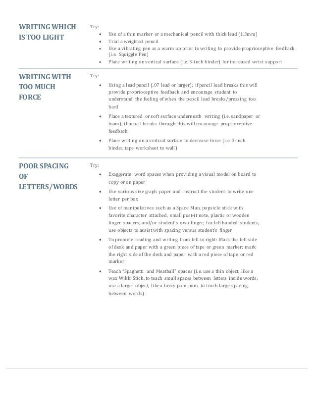 Handwriting Tip Sheet