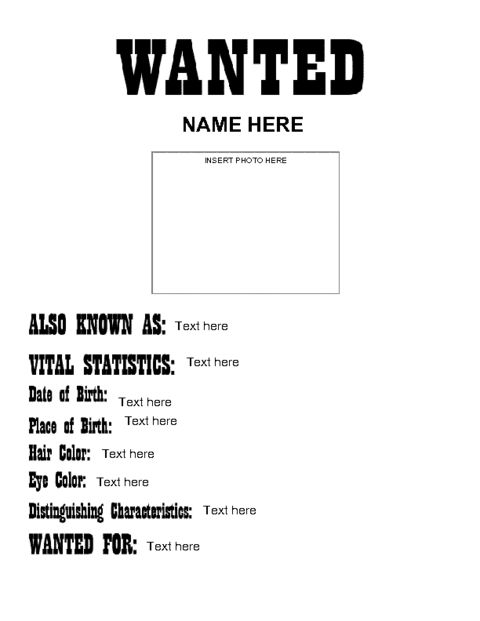 Education World: Wanted Poster Icebreaker Template