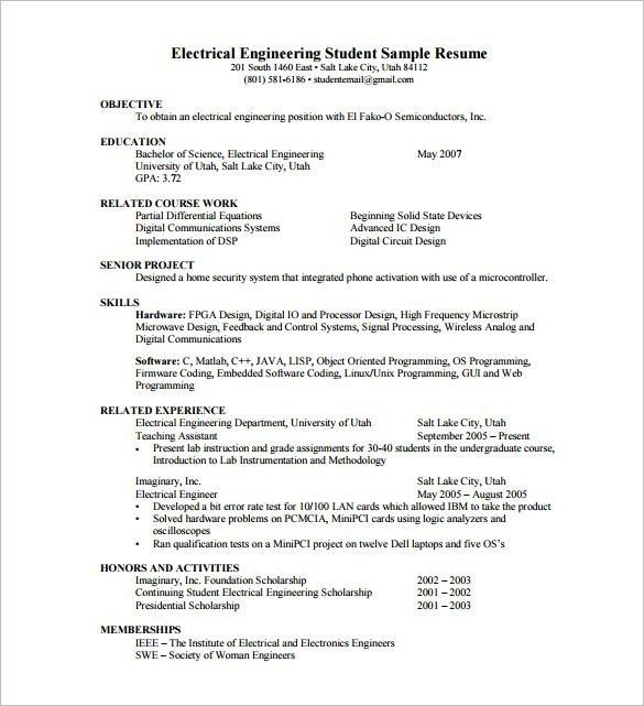 Fresher Resume Samples For Engineering Students - Best Resume ...