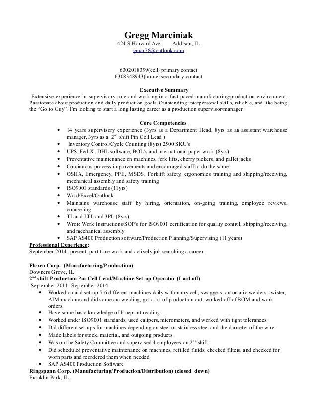 Production Supervisor Resume 8 Production Supervisor Resume ...