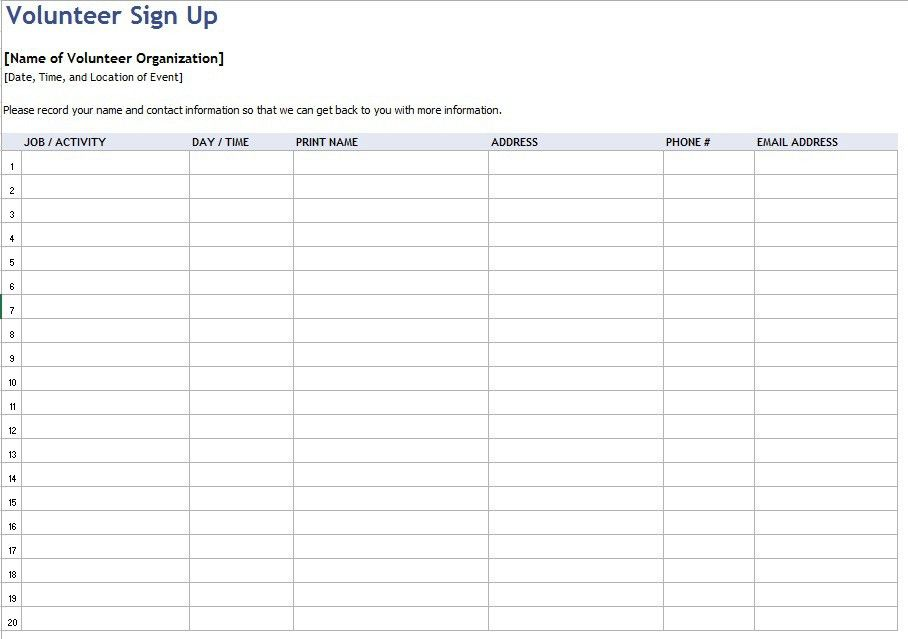 9 Free Sample Volunteer Sign-up Sheet Templates – Printable Samples