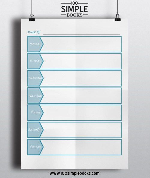 Free Weekly Planner Template | 100 Simple Books