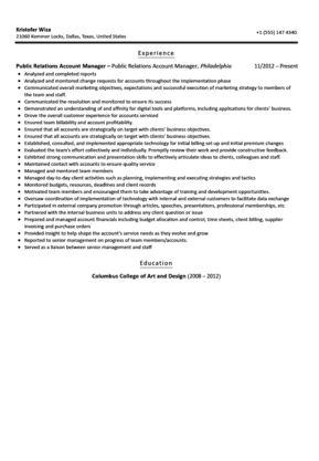 Public Relations Account Manager Resume Sample | Velvet Jobs