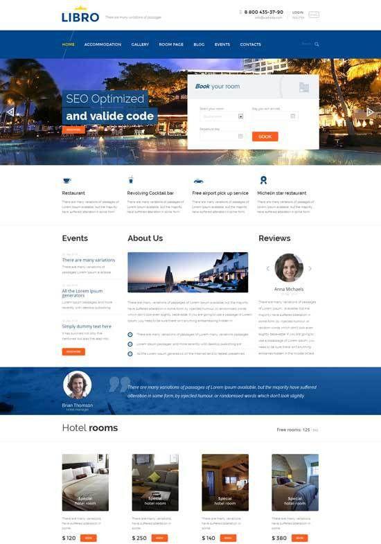 70+ Best Hotel Website Templates Free & Premium - freshDesignweb