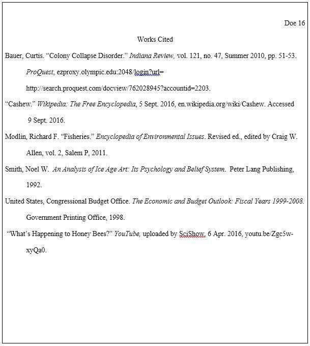 "Works Cited"" Page - MLA (8th edition) Documentation Style ..."
