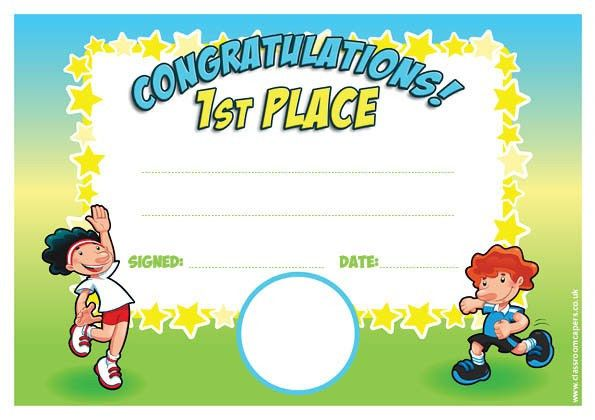 Personalised Certificates for Schools | 1st Place Sports Day Award ...