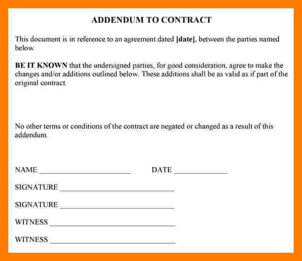 3+ sample of addendum agreement | teller resume