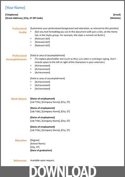 Free Blank Resume Templates For Microsoft Word. Cv Template Word ...