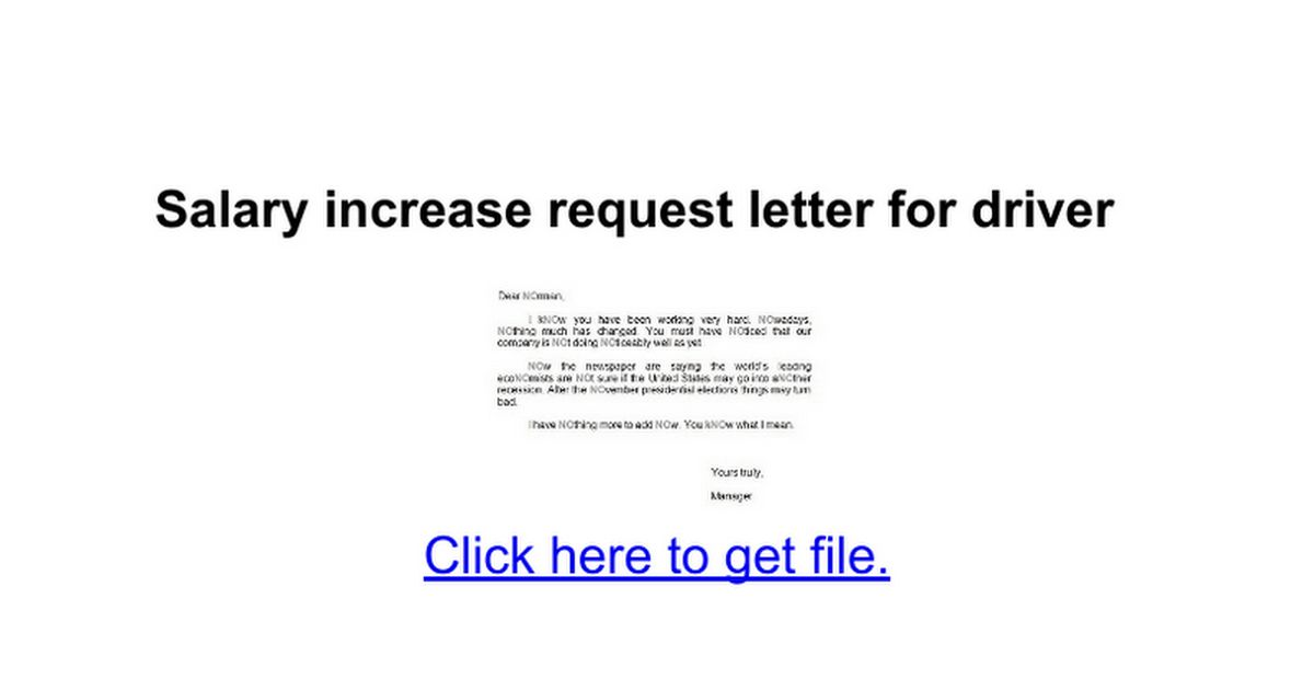 Salary increase request letter for driver - Google Docs