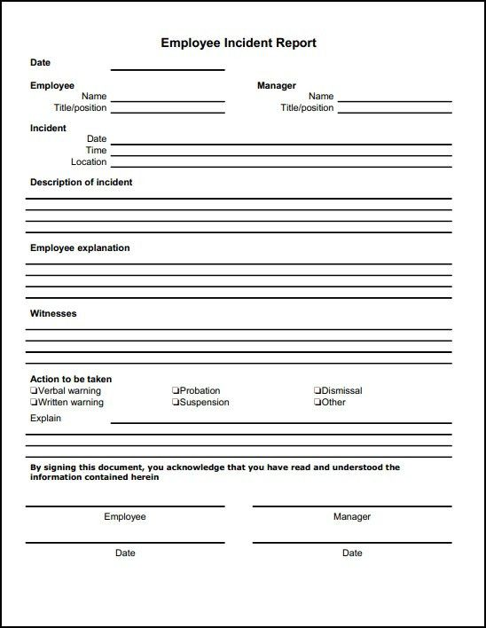 13 Incident Report Templates - Excel PDF Formats