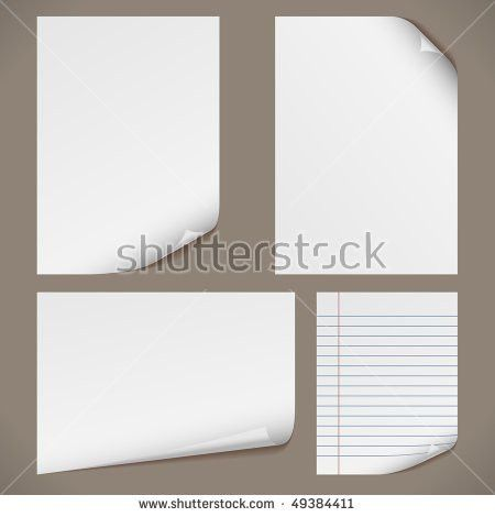 Blank A4 Papers Curled Corners Notepad Stock Vector 49384411 ...