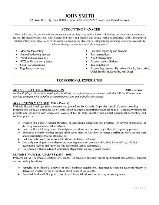 Accounting Resume Template. Accounting Resume Sample Word Document ...