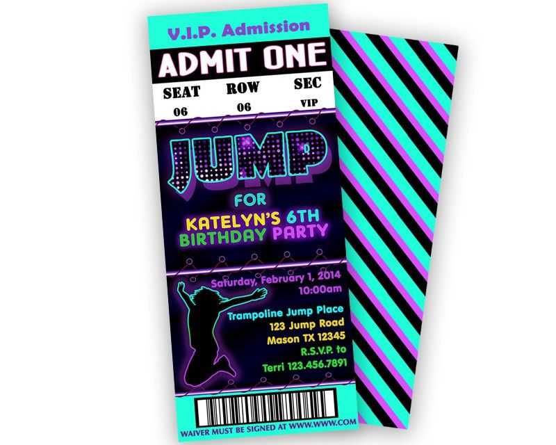 Girls Jump Birthday Party Ticket Invitations — Party Print Express