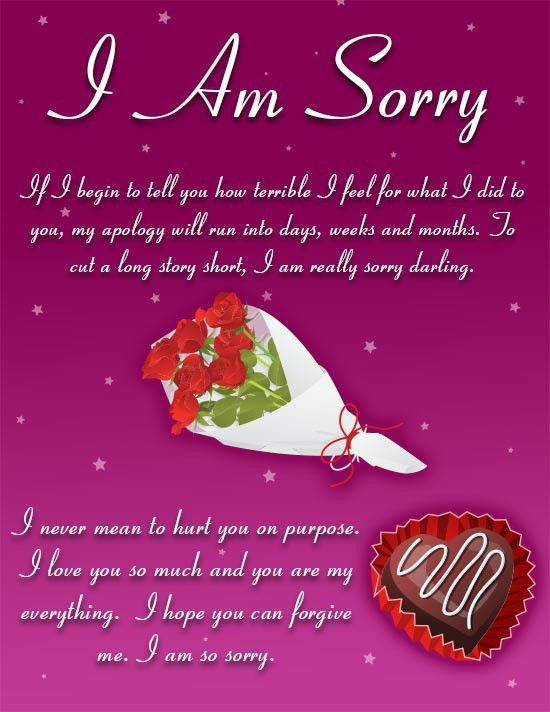 A loving I am sorry ecard for your lover with a kind romantic ...