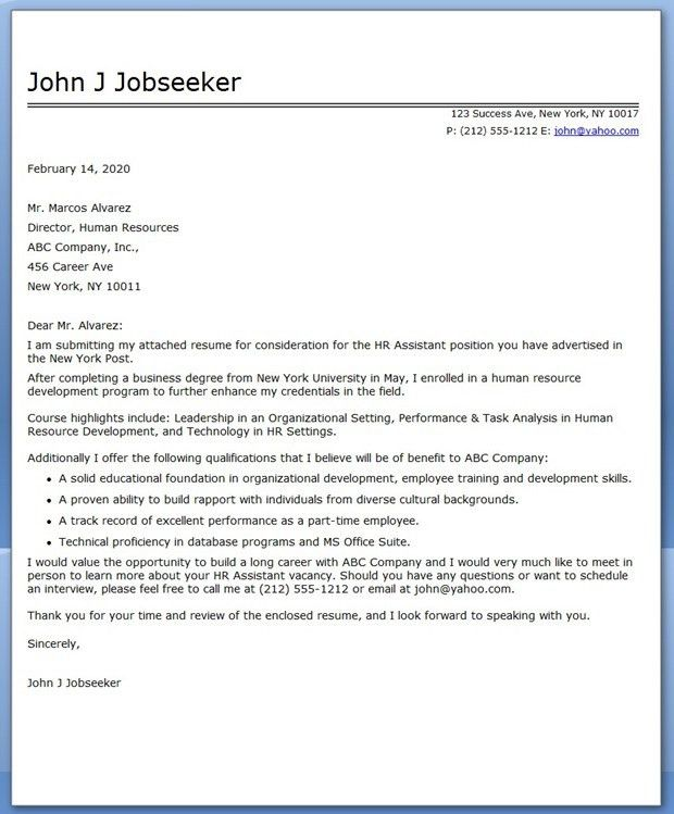 recent college graduate resume cover letter samples for Recent ...