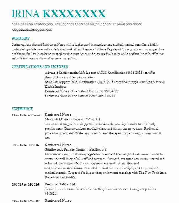 Psychiatric nurse resume example