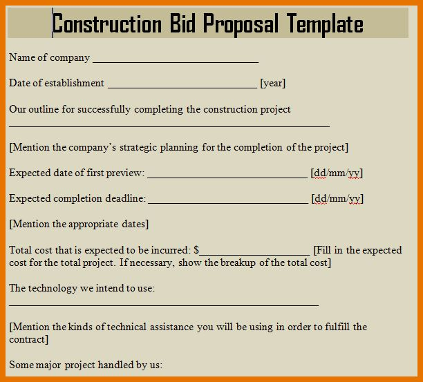 Construction Proposal Template Free Pasoevolistco - Contractor bid template
