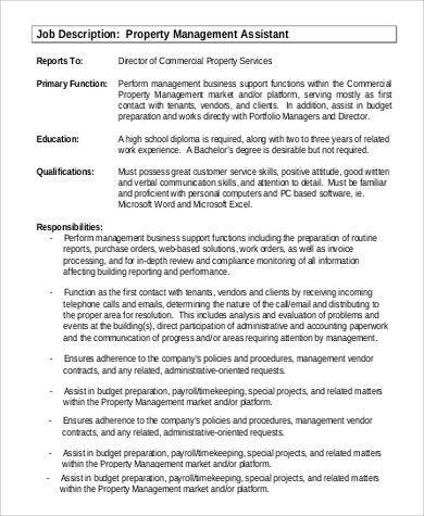 assistant property manager job description. assistant manager job ...