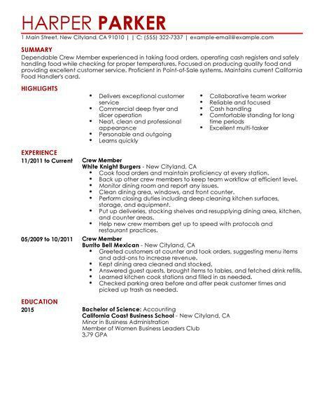 Best Restaurant Crew Member Resume Example | LiveCareer