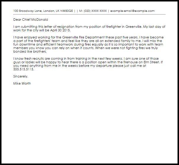 Firefighter Resignation Letter | Resignation Letters | LiveCareer