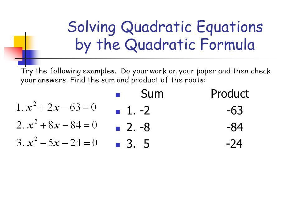 Solving Quadratic Equations by the Quadratic Formula - ppt video ...