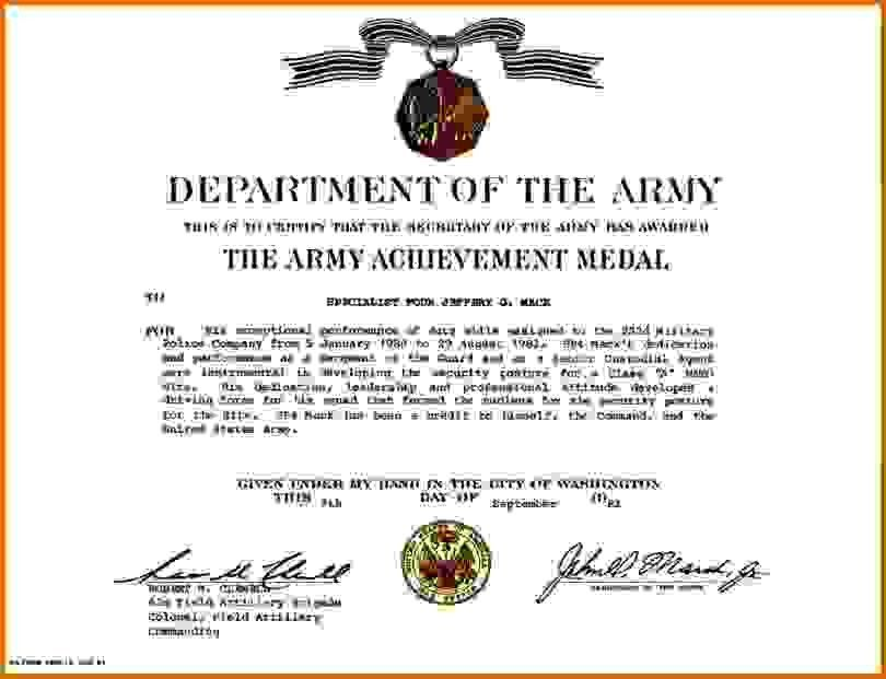 army certificate of achievementReference Letters Words | Reference ...