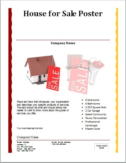 MS Word House for Sale Poster Template | Document Templates