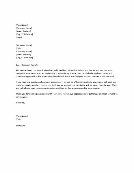 Letter approving credit application - Office Templates