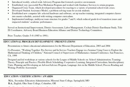 School Resume For Principal Position - Reentrycorps