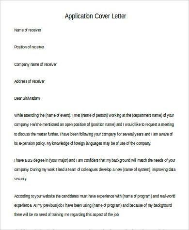 Application Letter Formats