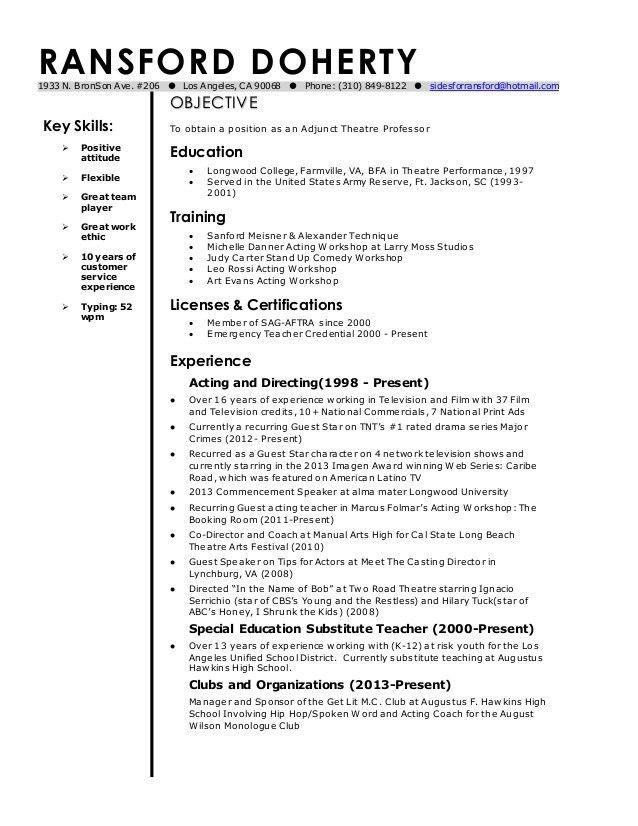 Sample Resume For Adjunct Professor Position Curriculum Vitae