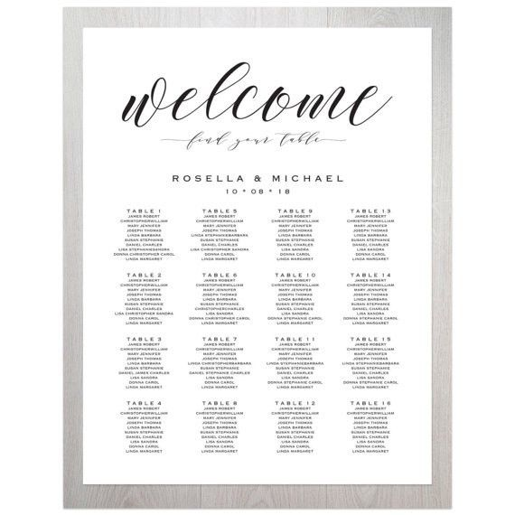 Wedding Seating Chart Seating Chart Printable Seating Chart
